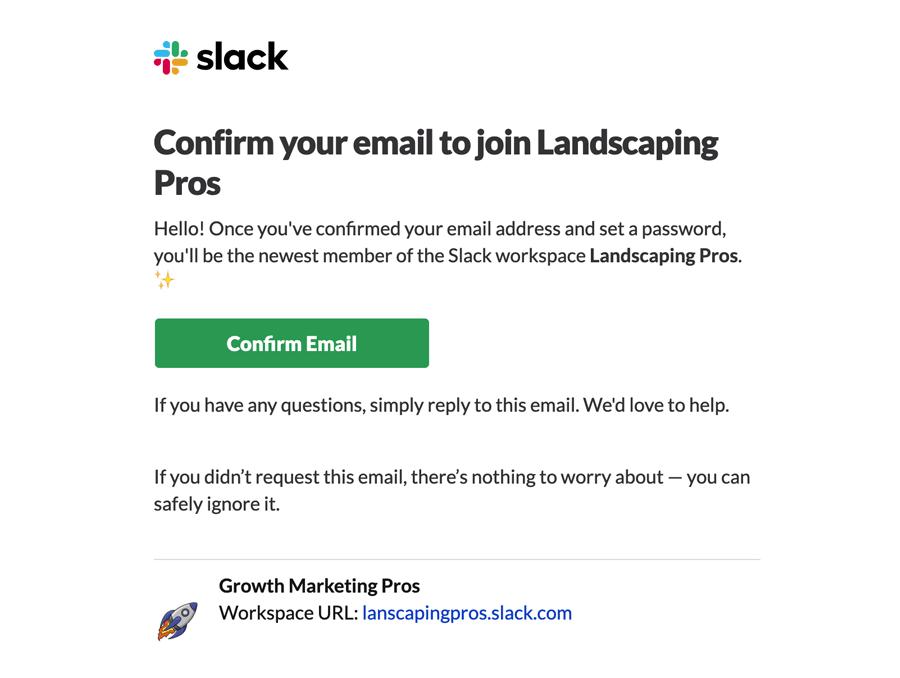 Slack Email Confirmation